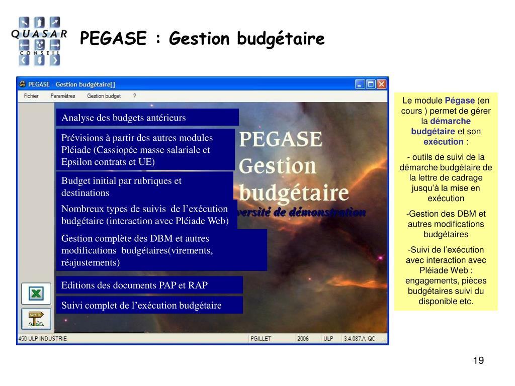 PEGASE : Gestion budgétaire