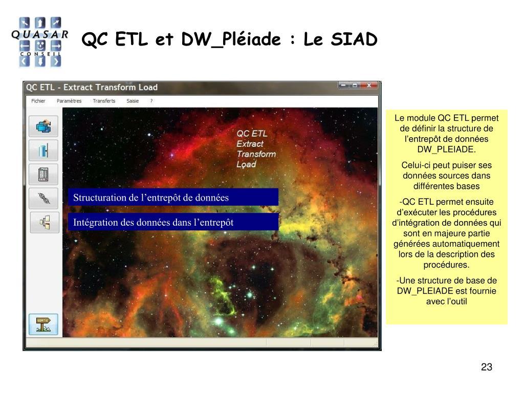 QC ETL et DW_Pléiade : Le SIAD