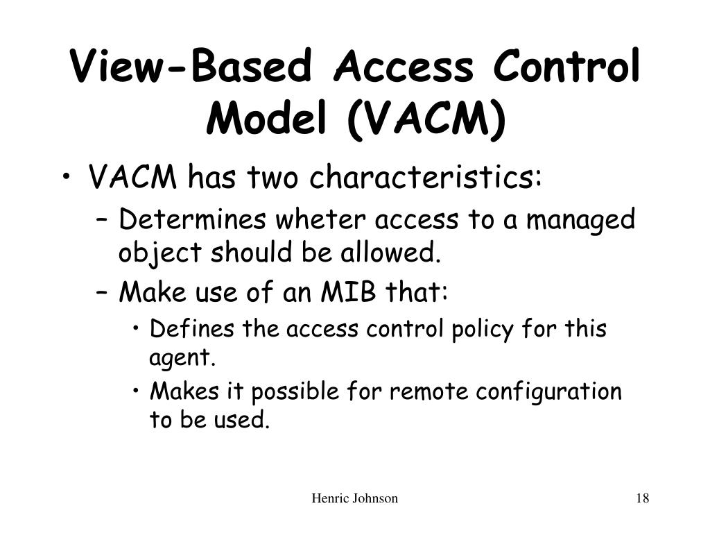 View-Based Access Control Model (VACM)