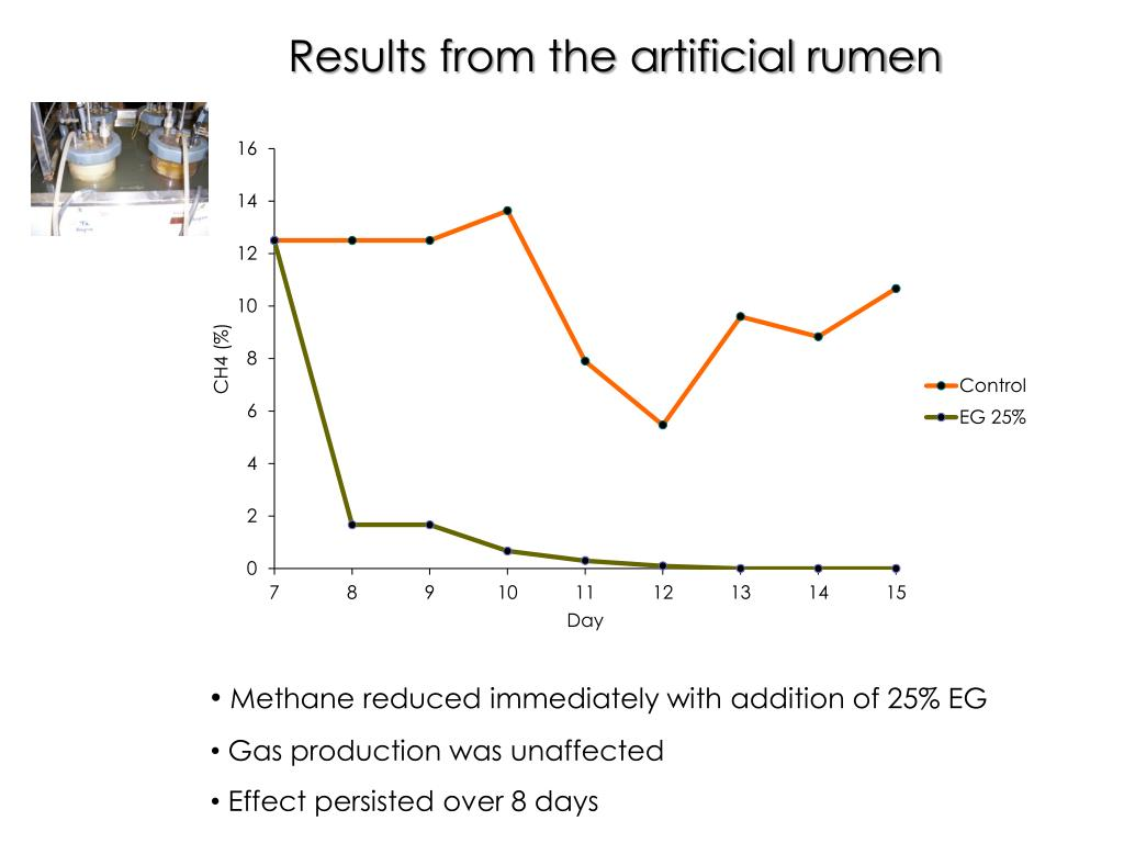 Results from the artificial rumen