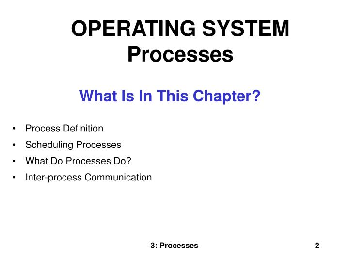 OPERATING SYSTEM Processes