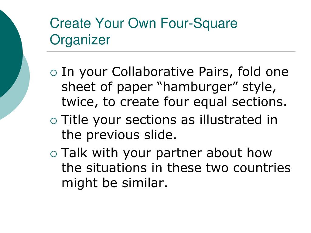 Create Your Own Four-Square Organizer