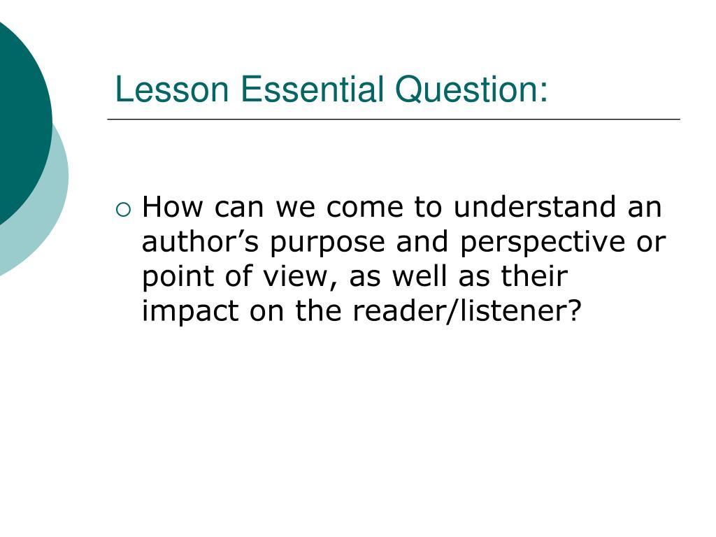 Lesson Essential Question: