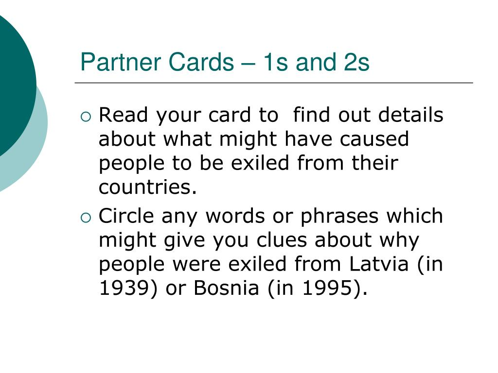 Partner Cards – 1s and 2s