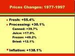 prices changes 1977 1997