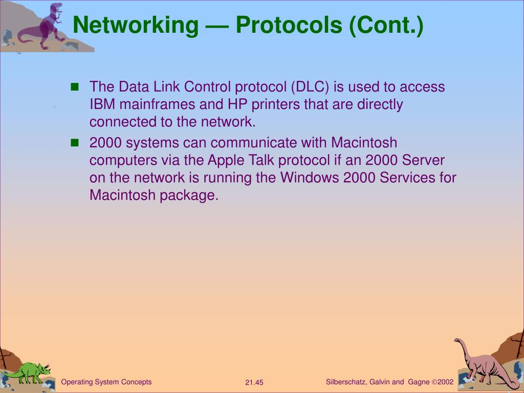 Networking — Protocols (Cont.)