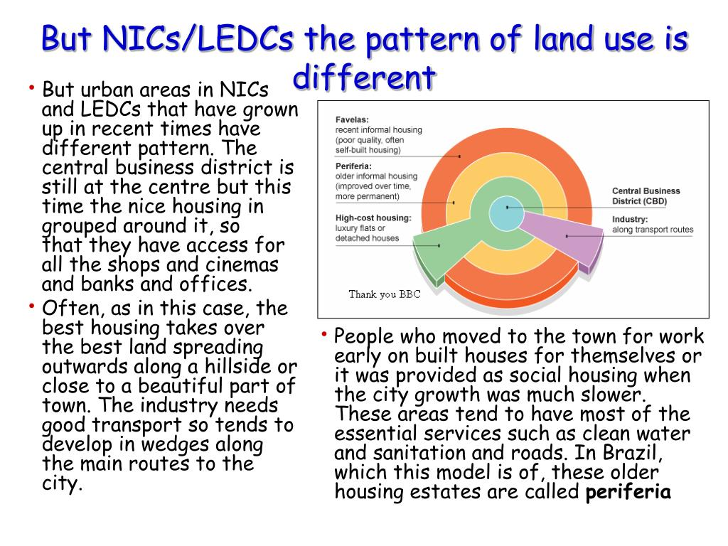 But urban areas in NICs and LEDCs that have grown up in recent times have different pattern. The central business district is still at the centre but this time the nice housing in grouped around it, so