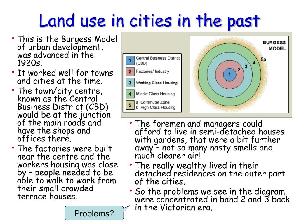 This is the Burgess Model of urban development, was advanced in the 1920s.