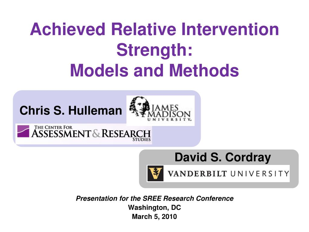 achieved relative intervention strength models and methods l.