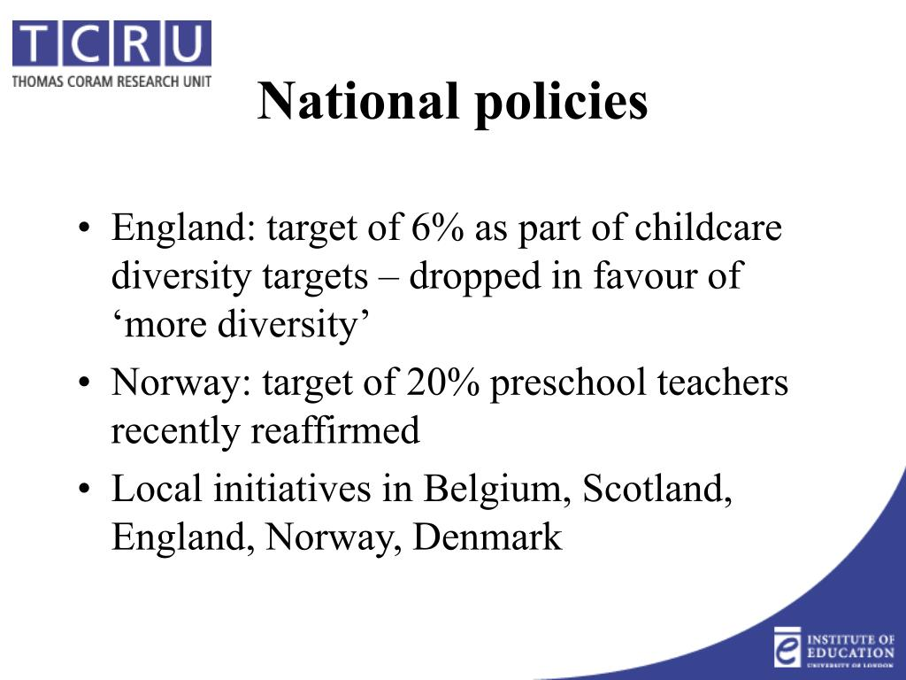 England: target of 6% as part of childcare diversity targets – dropped in favour of 'more diversity'
