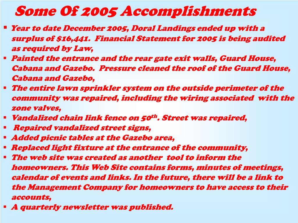 Some Of 2005 Accomplishments