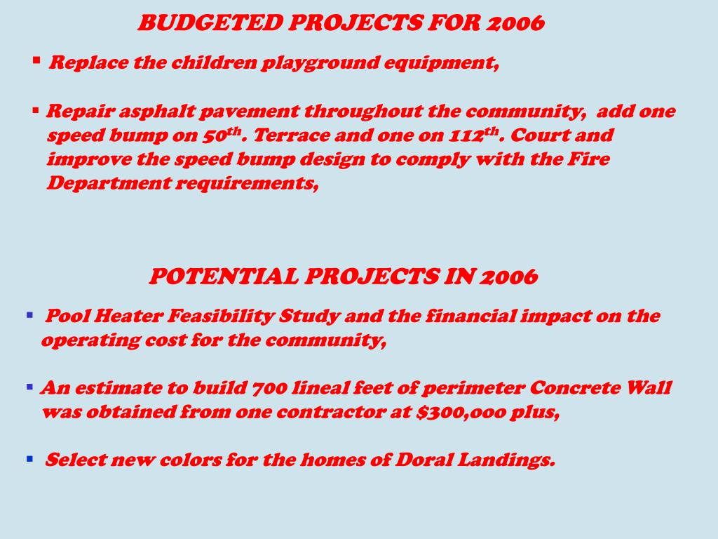 BUDGETED PROJECTS FOR 2006
