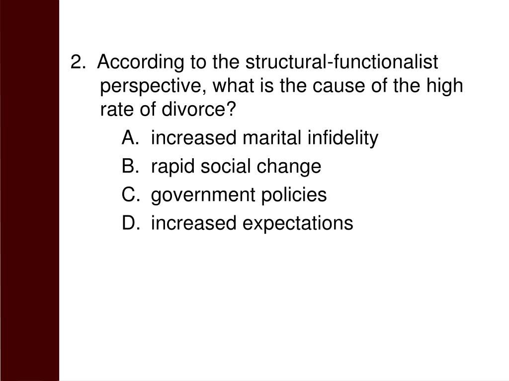 2.  According to the structural-functionalist perspective, what is the cause of the high rate of divorce?