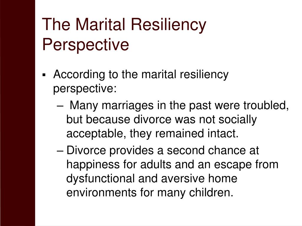 The Marital Resiliency Perspective