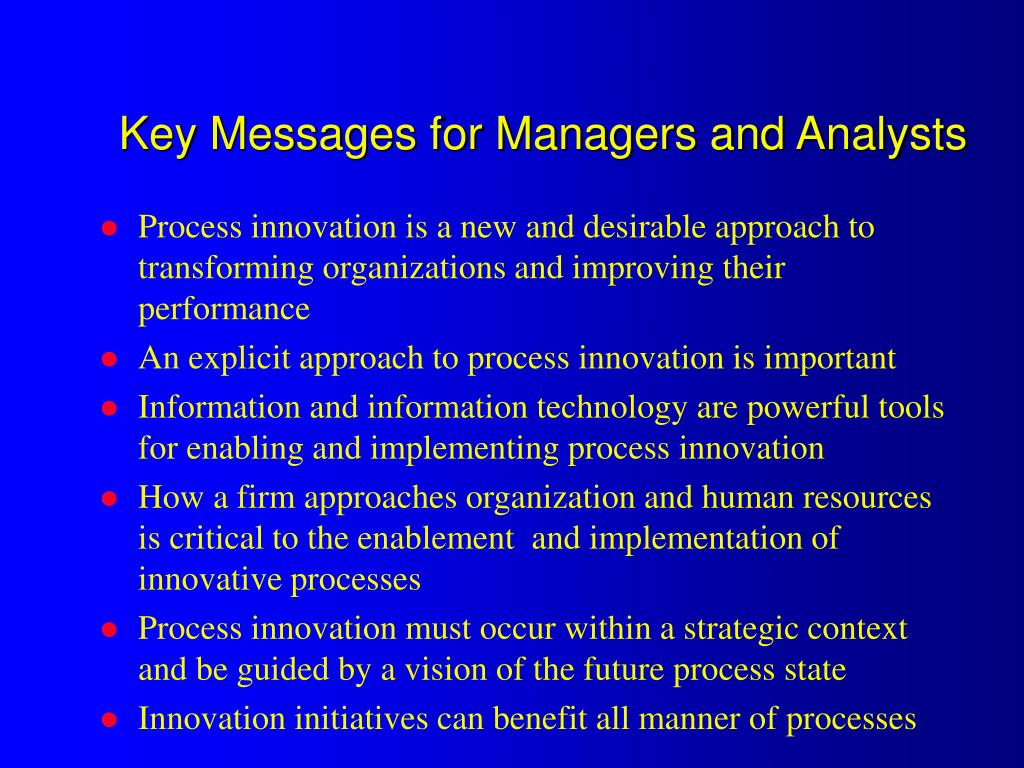 Key Messages for Managers and Analysts