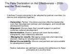 the paris declaration on aid effectiveness 2005 was the third meeting