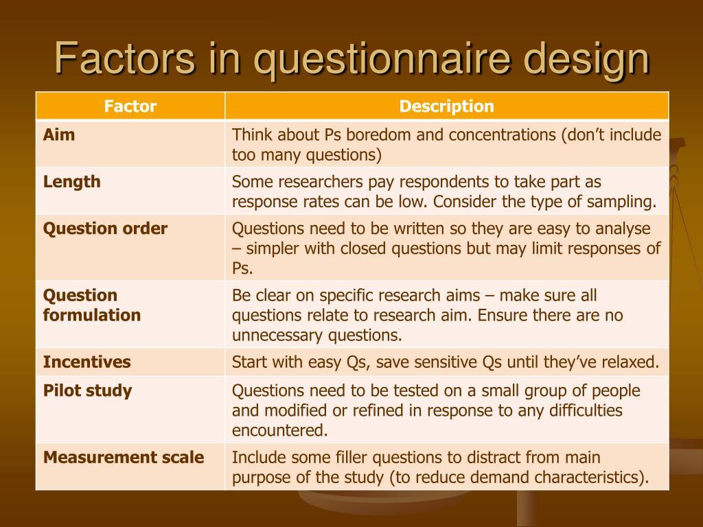 Factors in questionnaire design