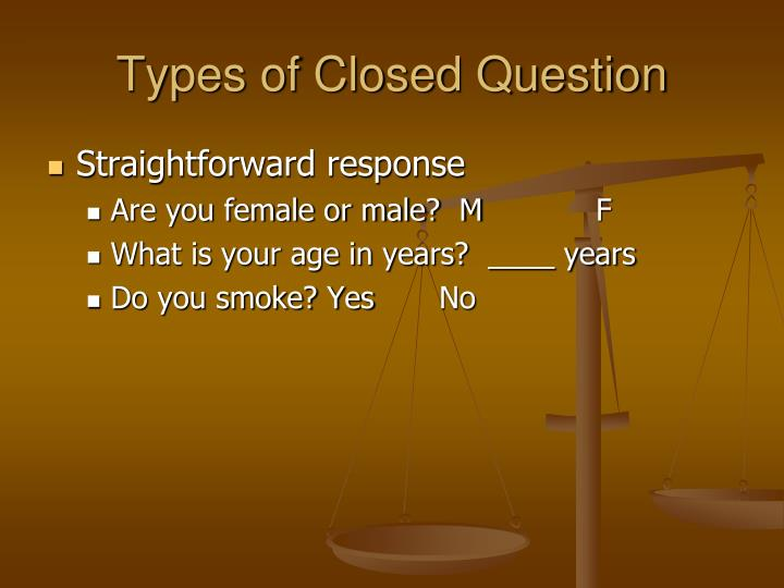 Types of closed question