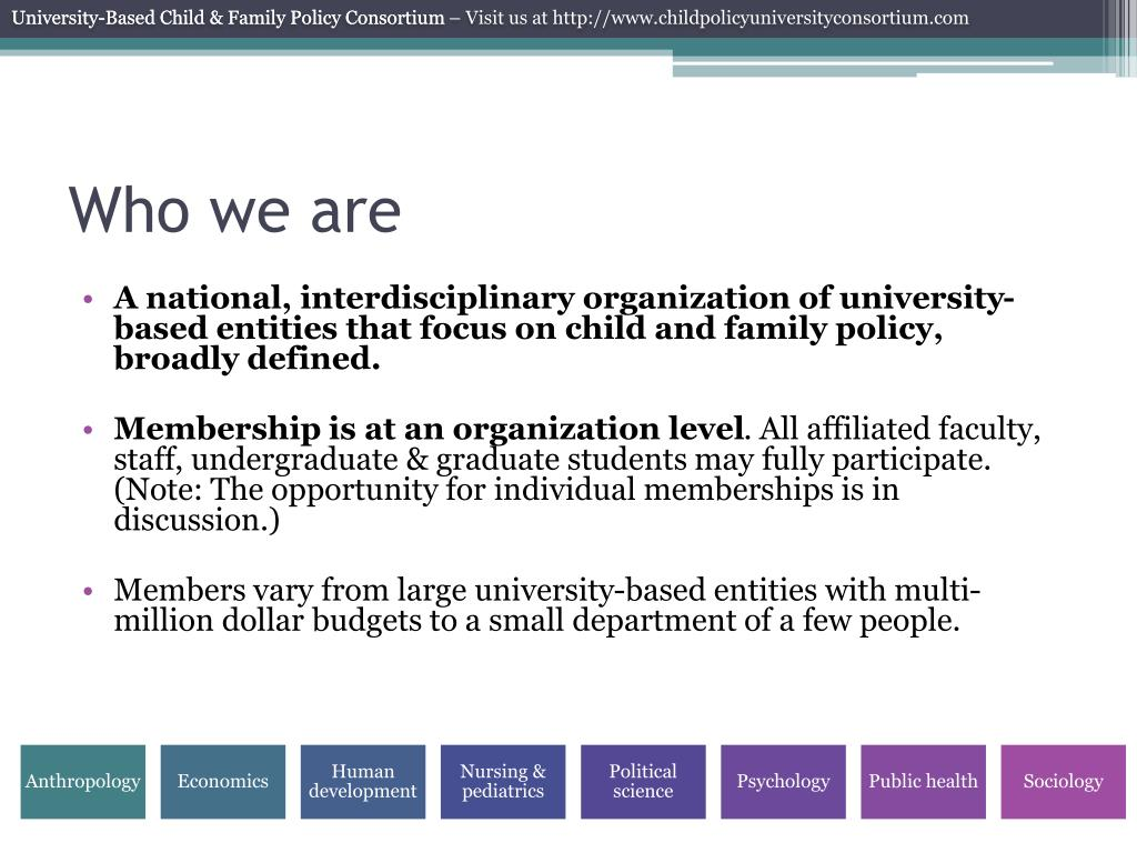University-Based Child & Family Policy Consortium