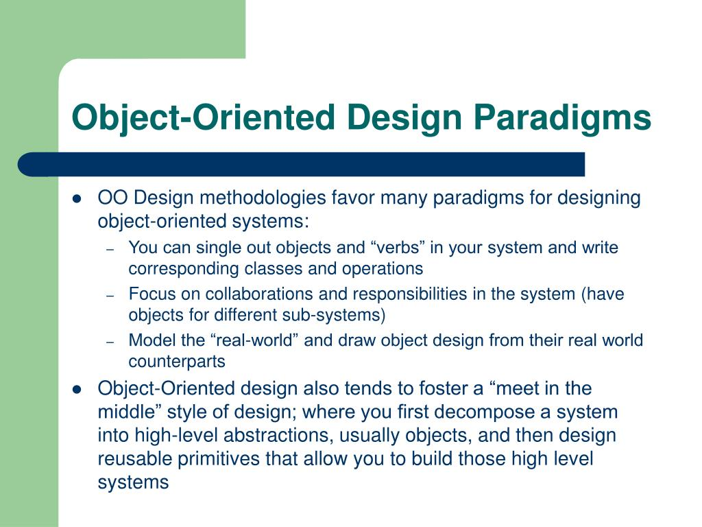 Object-Oriented Design Paradigms