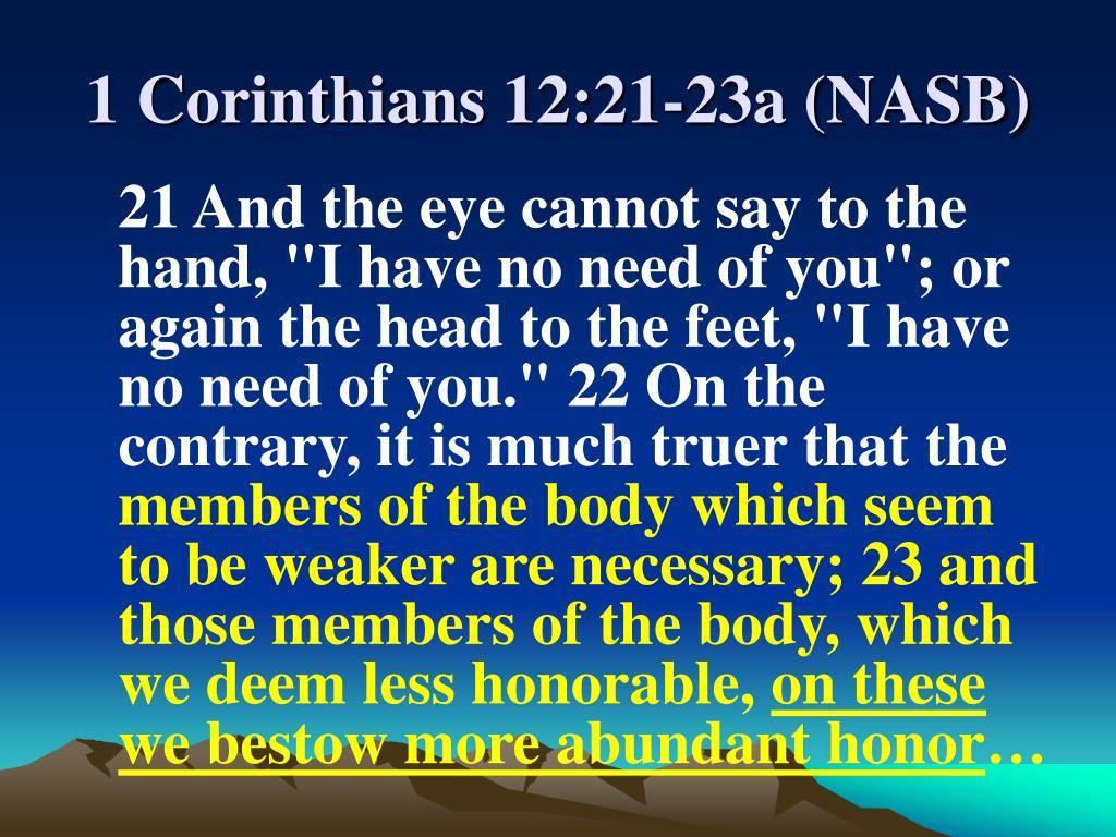 1 Corinthians 12:21-23a (NASB)