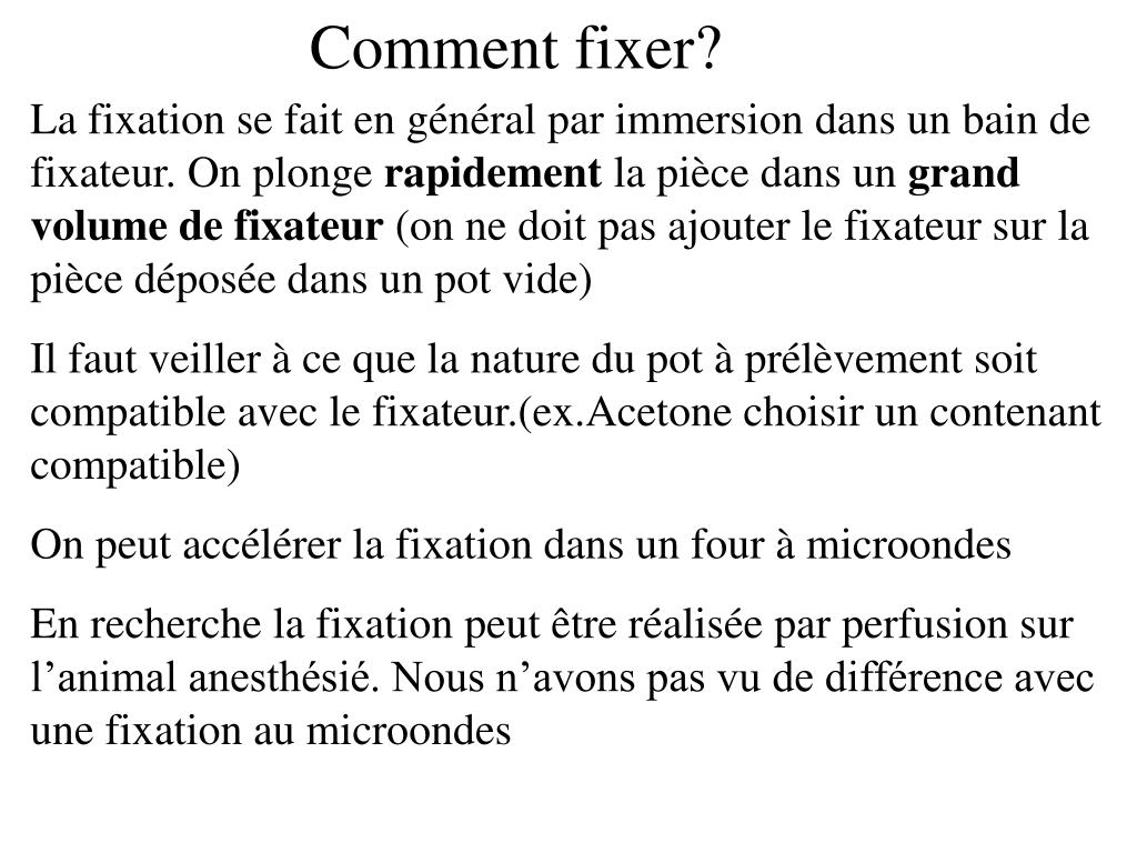 Comment fixer?