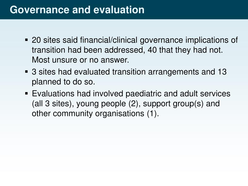 Governance and evaluation