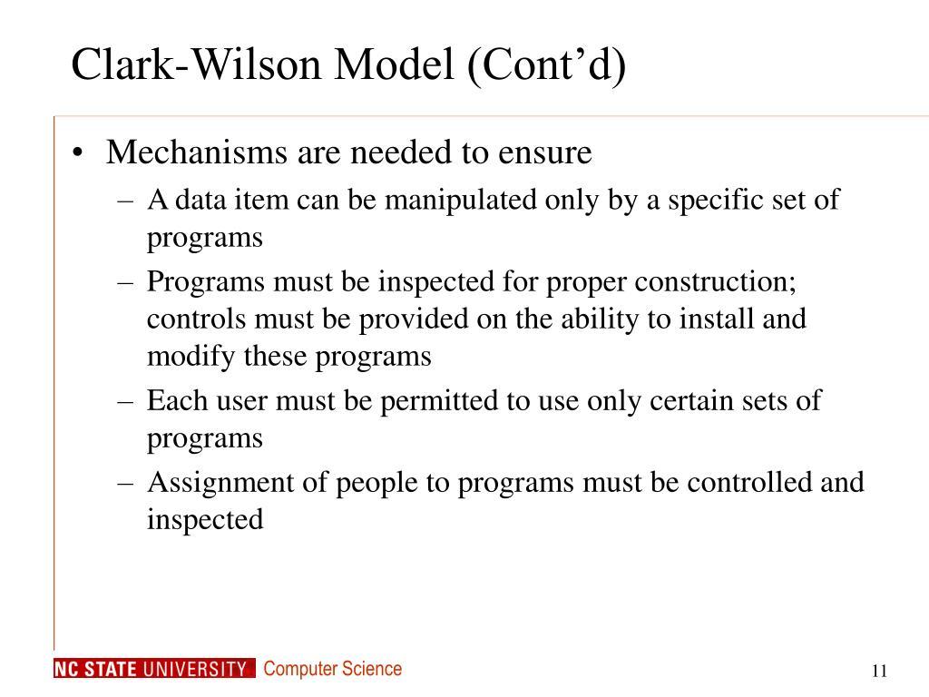 Clark-Wilson Model (Cont'd)