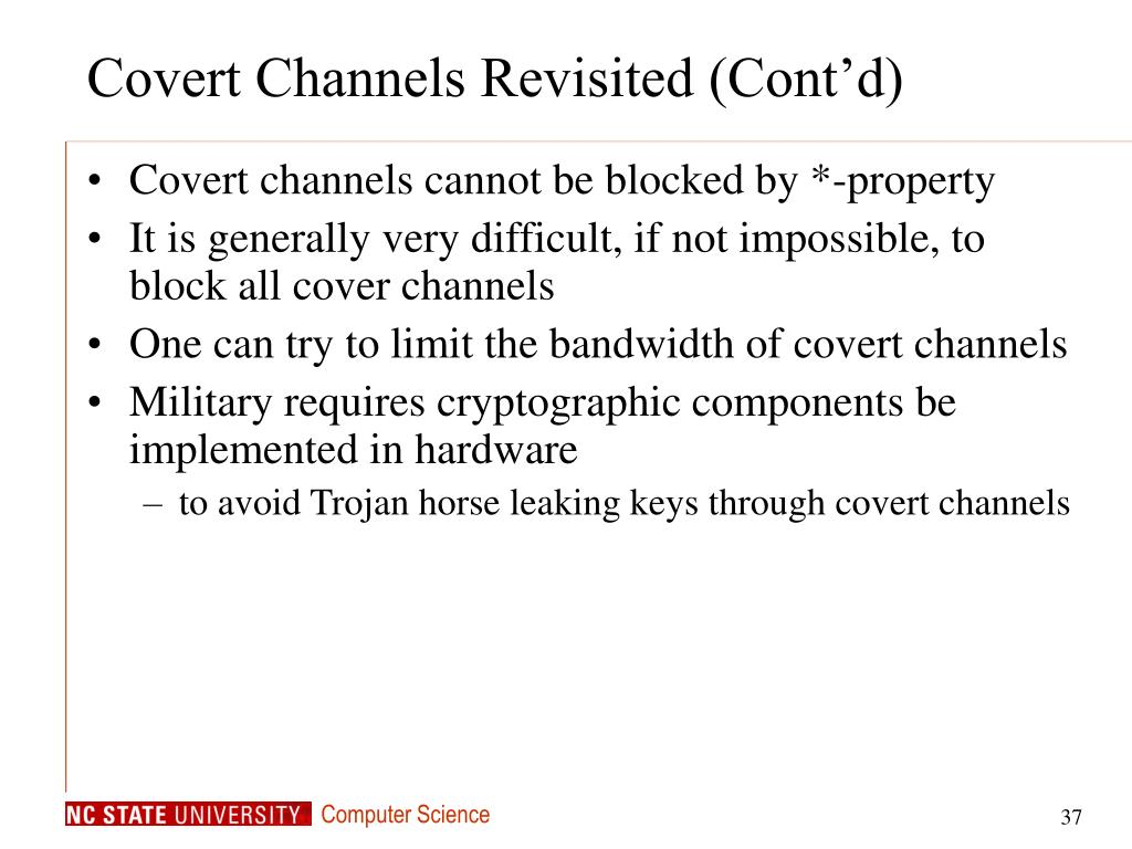 Covert Channels Revisited (Cont'd)