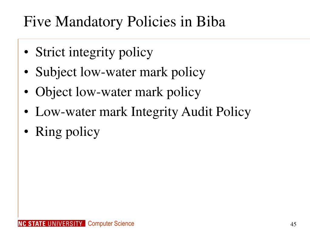 Five Mandatory Policies in Biba