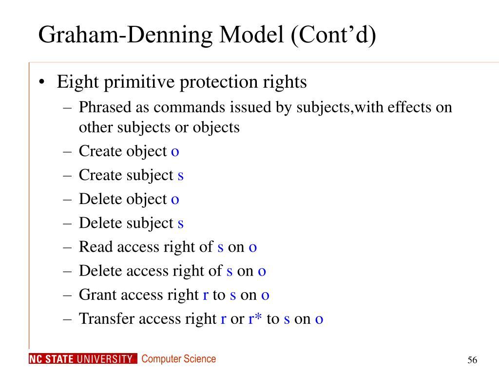 Graham-Denning Model (Cont'd)
