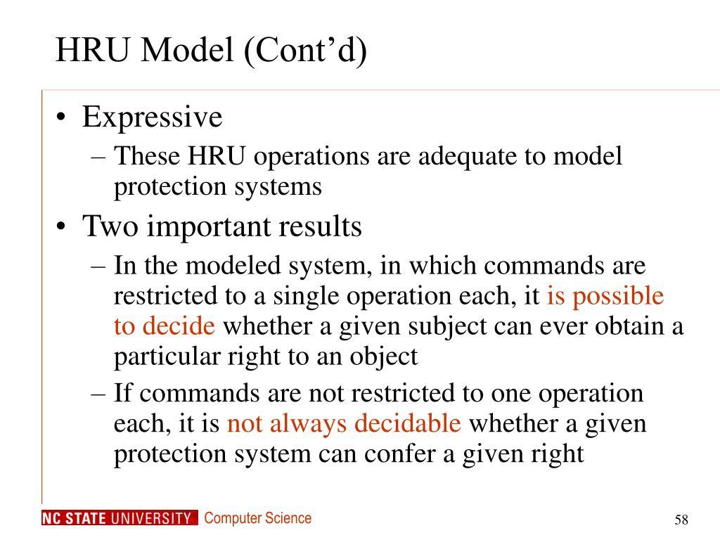 HRU Model (Cont'd)