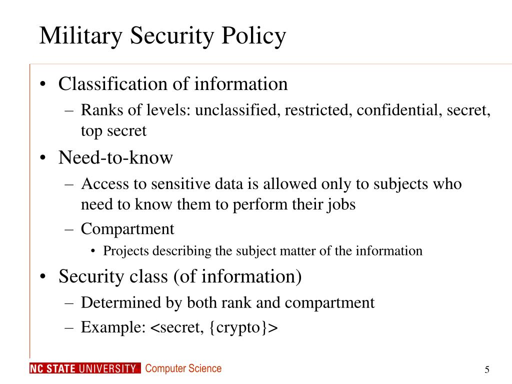 Military Security Policy