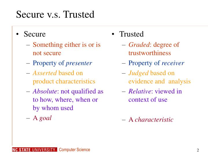 Secure v s trusted