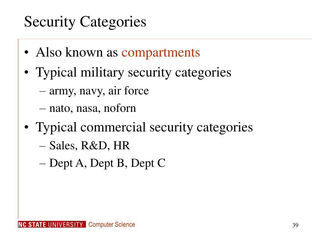 Security Categories