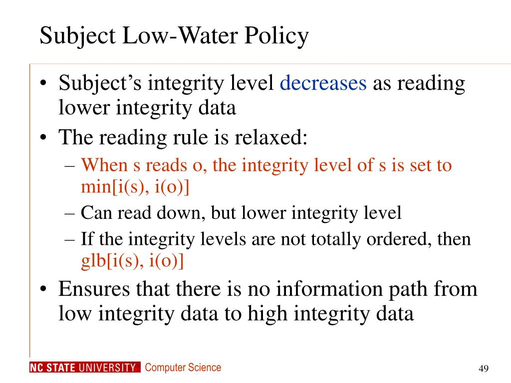 Subject Low-Water Policy