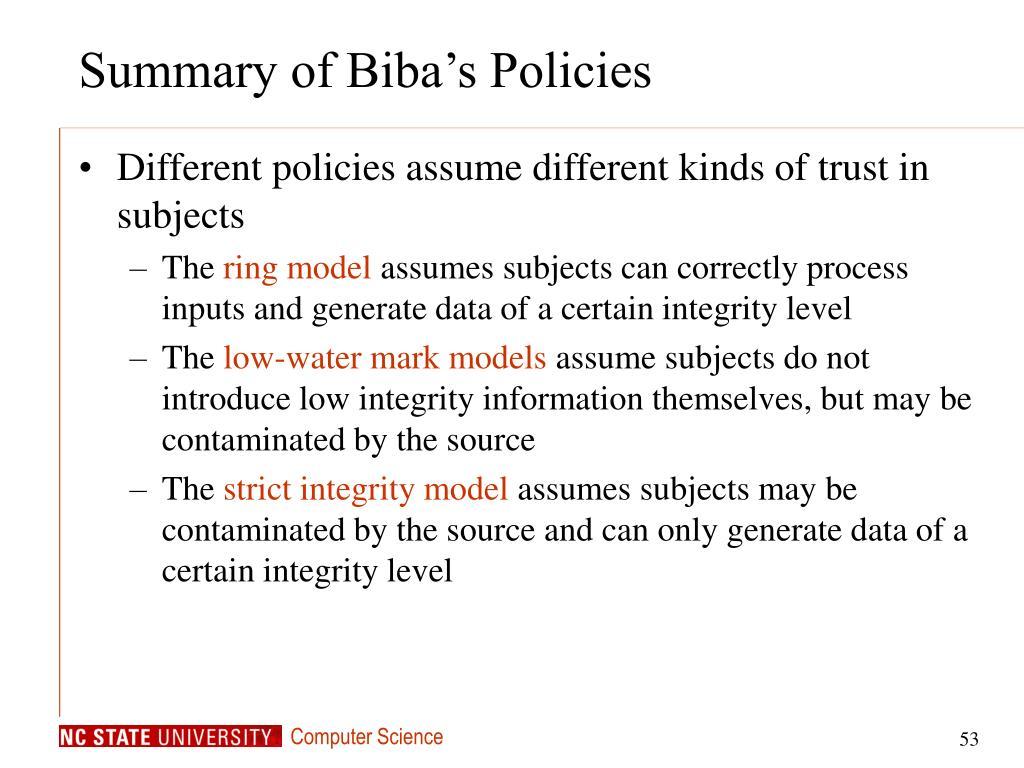Summary of Biba's Policies