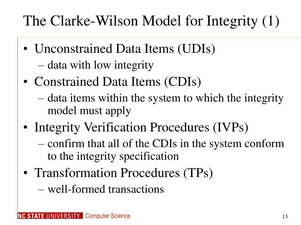 The Clarke-Wilson Model for Integrity (1)