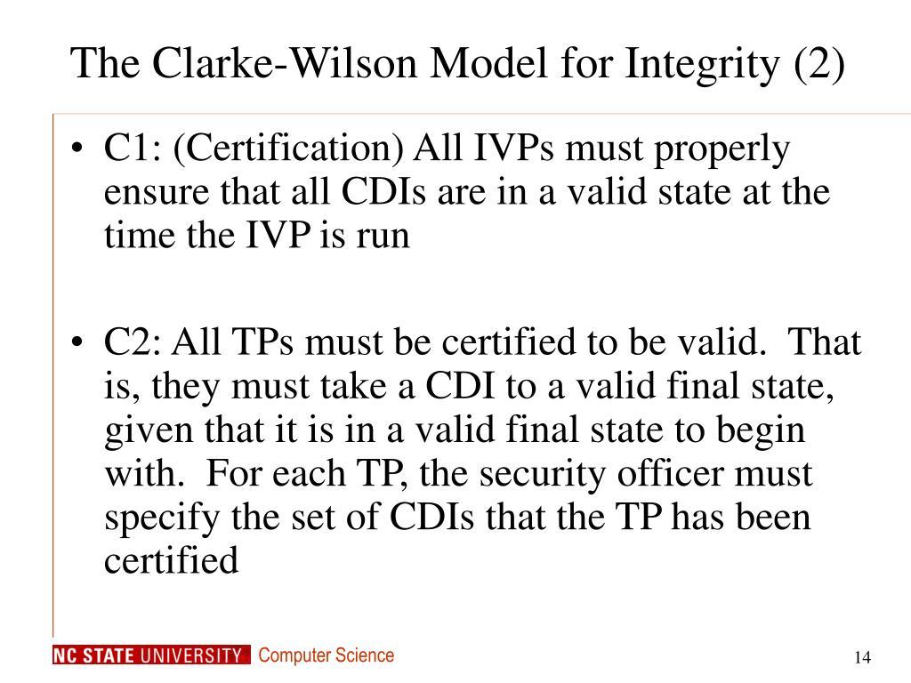 The Clarke-Wilson Model for Integrity (2)