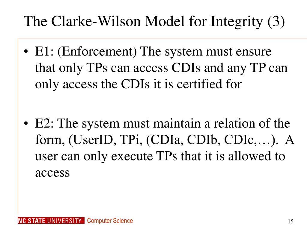 The Clarke-Wilson Model for Integrity (3)