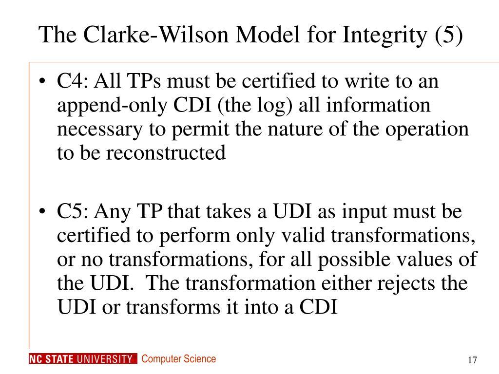 The Clarke-Wilson Model for Integrity (5)