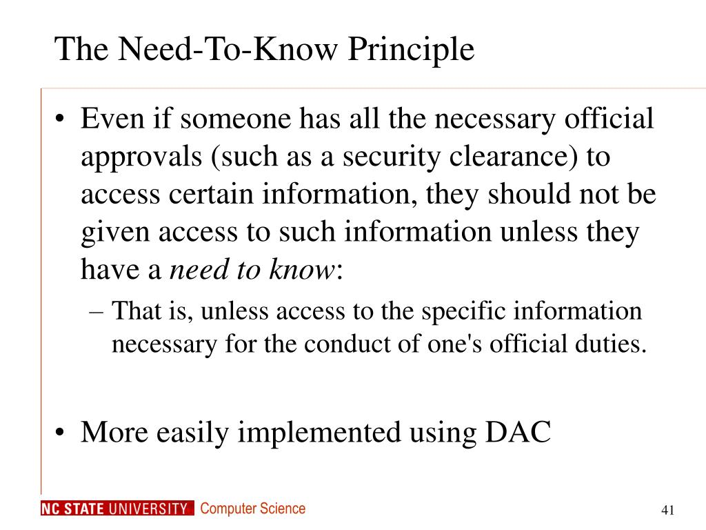 The Need-To-Know Principle