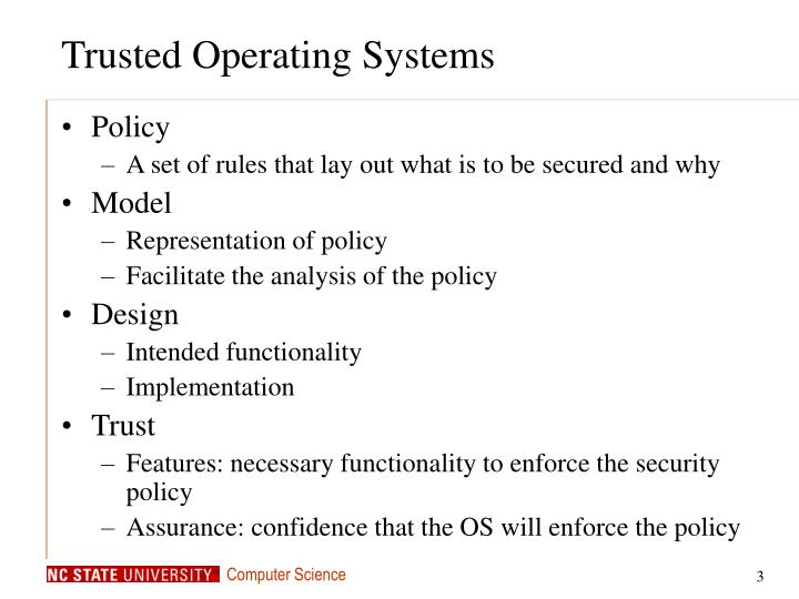 Trusted operating systems