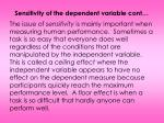 sensitivity of the dependent variable cont