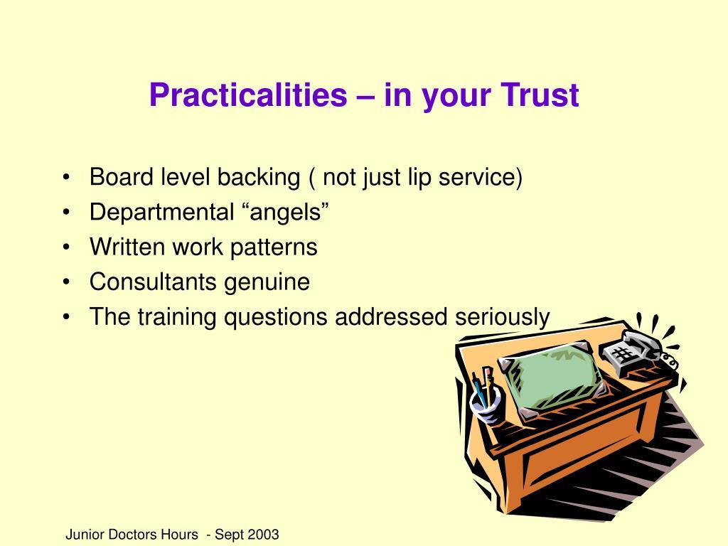 Practicalities – in your Trust