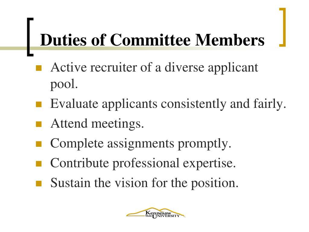 Duties of Committee Members