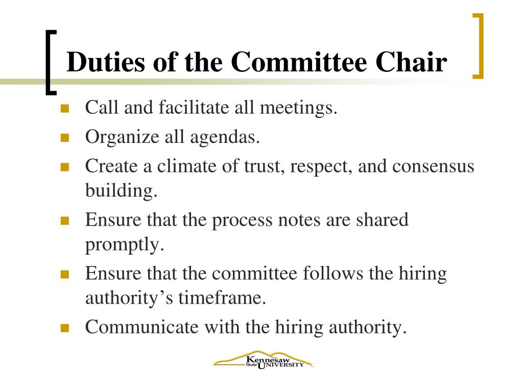 Duties of the Committee Chair