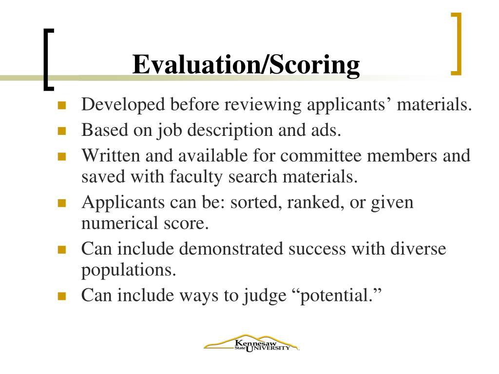 Evaluation/Scoring