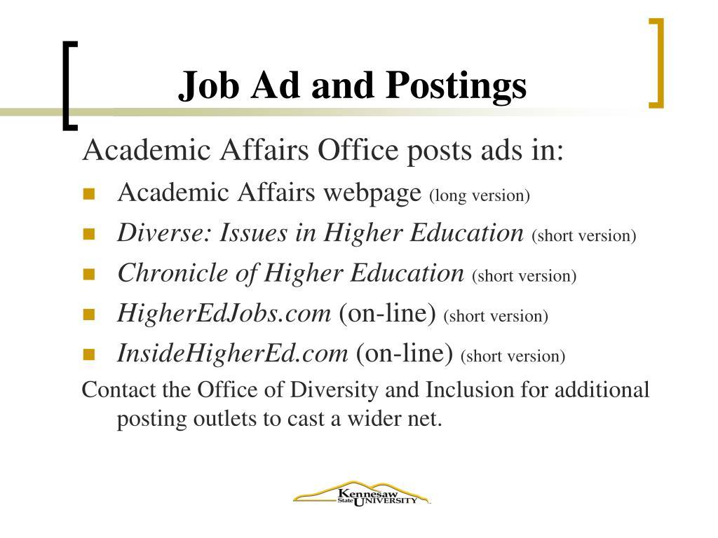 Job Ad and Postings
