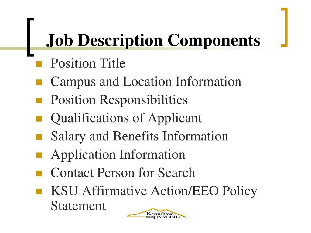 Job Description Components